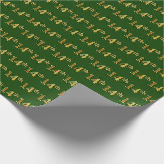 Green, Faux Gold 14th (Fourteenth) Event Wrapping Paper