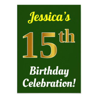 Green, Faux Gold 15th Birthday Celebration + Name Card