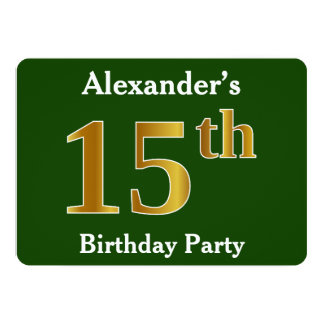Green, Faux Gold 15th Birthday Party + Custom Name Card