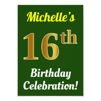 Green, Faux Gold 16th Birthday Celebration + Name Card