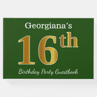 Green, Faux Gold 16th Birthday Party + Custom Name Guest Book
