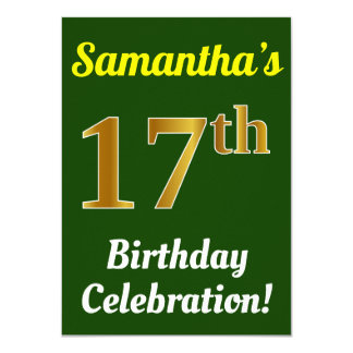 Green, Faux Gold 17th Birthday Celebration + Name Card