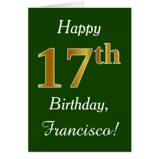 Green, Faux Gold 17th Birthday + Custom Name Card