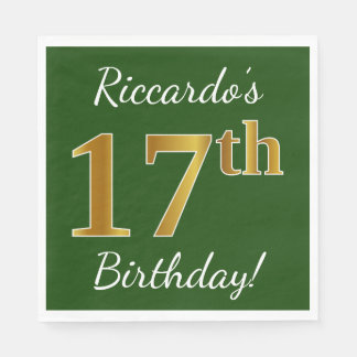 Green, Faux Gold 17th Birthday + Custom Name Disposable Napkins