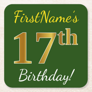 Green, Faux Gold 17th Birthday + Custom Name Square Paper Coaster