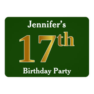 Green, Faux Gold 17th Birthday Party + Custom Name Card