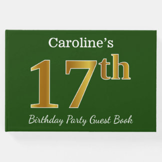 Green, Faux Gold 17th Birthday Party + Custom Name Guest Book