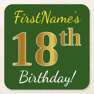 Green, Faux Gold 18th Birthday + Custom Name Square Paper Coaster