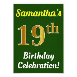 Green, Faux Gold 19th Birthday Celebration + Name Card