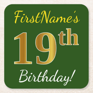 Green, Faux Gold 19th Birthday + Custom Name Square Paper Coaster