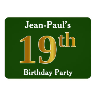 Green, Faux Gold 19th Birthday Party + Custom Name Card