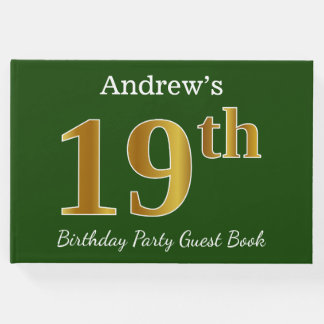 Green, Faux Gold 19th Birthday Party + Custom Name Guest Book