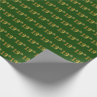Green, Faux Gold 19th (Nineteenth) Event Wrapping Paper