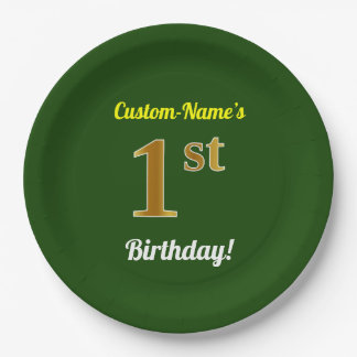 Green, Faux Gold 1st Birthday + Custom Name Paper Plate