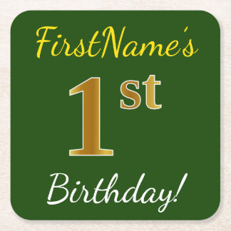 Green, Faux Gold 1st Birthday + Custom Name Square Paper Coaster