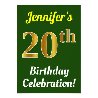 Green, Faux Gold 20th Birthday Celebration + Name Card