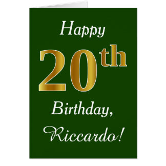 Green, Faux Gold 20th Birthday + Custom Name Card