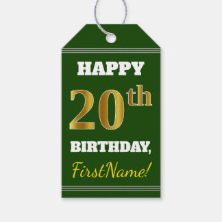 Green, Faux Gold 20th Birthday + Custom Name Gift Tags