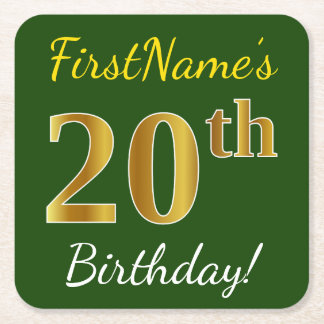 Green, Faux Gold 20th Birthday + Custom Name Square Paper Coaster