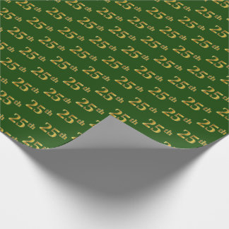 Green, Faux Gold 25th (Twenty-Fifth) Event Wrapping Paper