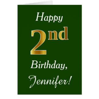 Green, Faux Gold 2nd Birthday + Custom Name Card