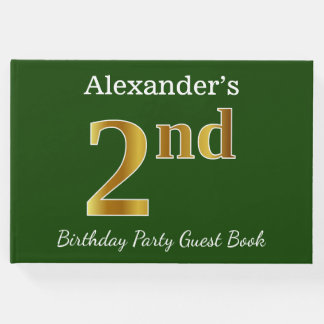 Green, Faux Gold 2nd Birthday Party + Custom Name Guest Book