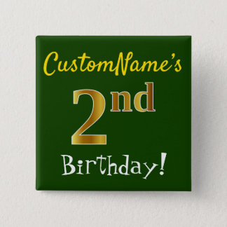 Green, Faux Gold 2nd Birthday, With Custom Name 15 Cm Square Badge