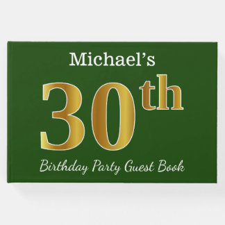 Green, Faux Gold 30th Birthday Party + Custom Name Guest Book