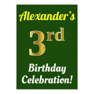 Green, Faux Gold 3rd Birthday Celebration + Name Card