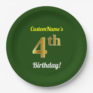 Green, Faux Gold 4th Birthday + Custom Name Paper Plate