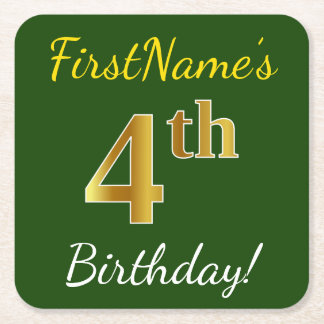 Green, Faux Gold 4th Birthday + Custom Name Square Paper Coaster
