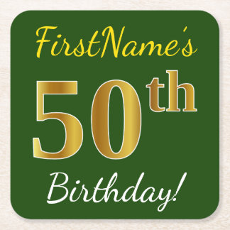 Green, Faux Gold 50th Birthday + Custom Name Square Paper Coaster
