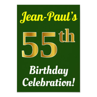 Green, Faux Gold 55th Birthday Celebration + Name Card