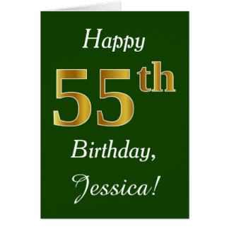 Green, Faux Gold 55th Birthday + Custom Name Card