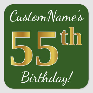 Green, Faux Gold 55th Birthday + Custom Name Square Sticker