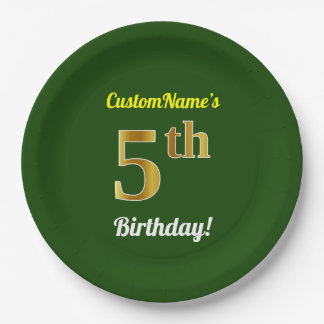 Green, Faux Gold 5th Birthday + Custom Name Paper Plate