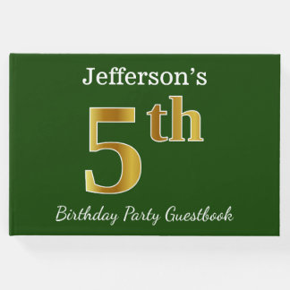 Green, Faux Gold 5th Birthday Party + Custom Name Guest Book