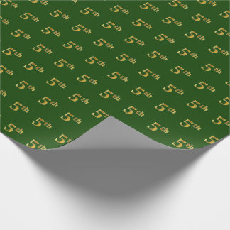 Green, Faux Gold 5th (Fifth) Event Wrapping Paper