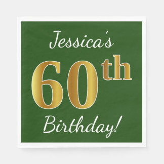 Green, Faux Gold 60th Birthday + Custom Name Disposable Napkin