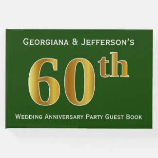 Green, Faux Gold 60th Wedding Anniversary Party Guest Book