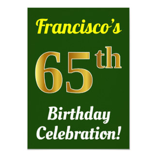 Green, Faux Gold 65th Birthday Celebration + Name Card