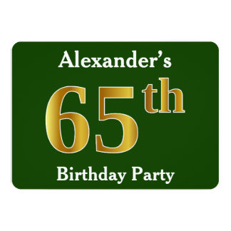 Green, Faux Gold 65th Birthday Party + Custom Name Card