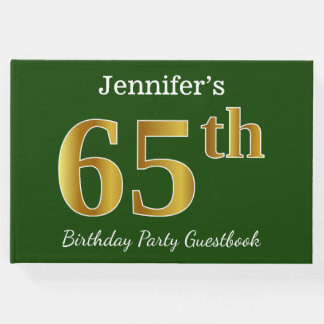 Green, Faux Gold 65th Birthday Party + Custom Name Guest Book