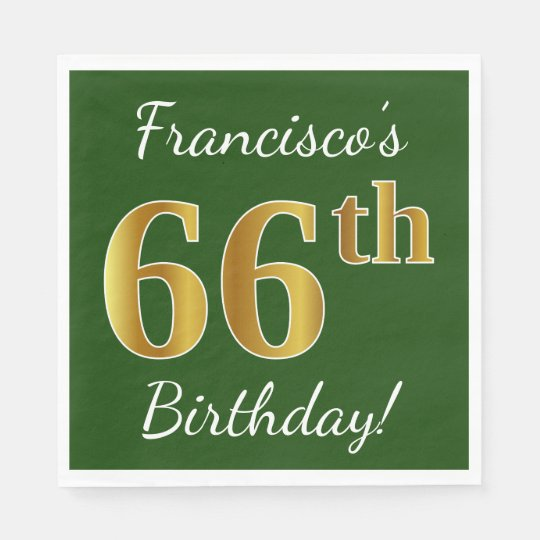 Green, Faux Gold 66th Birthday + Custom Name Paper Napkins