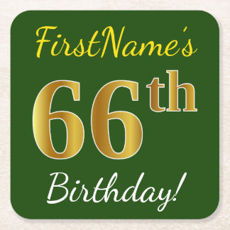 Green, Faux Gold 66th Birthday + Custom Name Square Paper Coaster