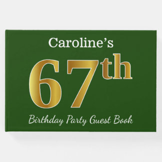 Green, Faux Gold 67th Birthday Party + Custom Name Guest Book