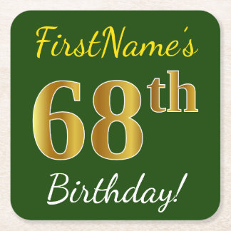 Green, Faux Gold 68th Birthday + Custom Name Square Paper Coaster