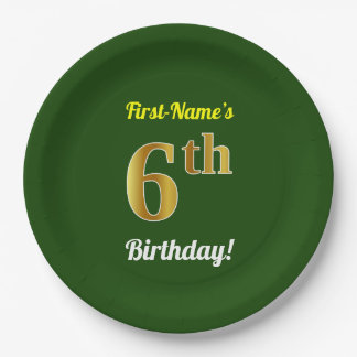 Green, Faux Gold 6th Birthday + Custom Name Paper Plate