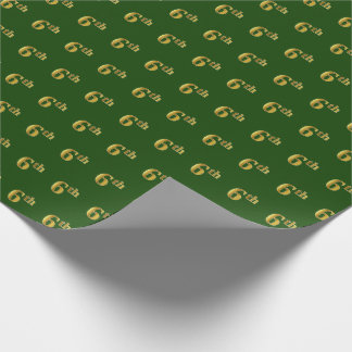 Green, Faux Gold 6th (Sixth) Event Wrapping Paper