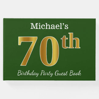 Green, Faux Gold 70th Birthday Party + Custom Name Guest Book